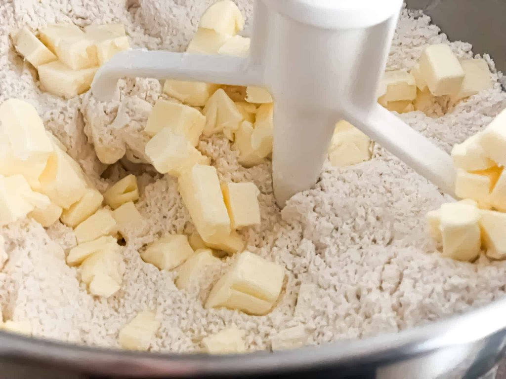 Dry ingredients for scones in a stand mixer