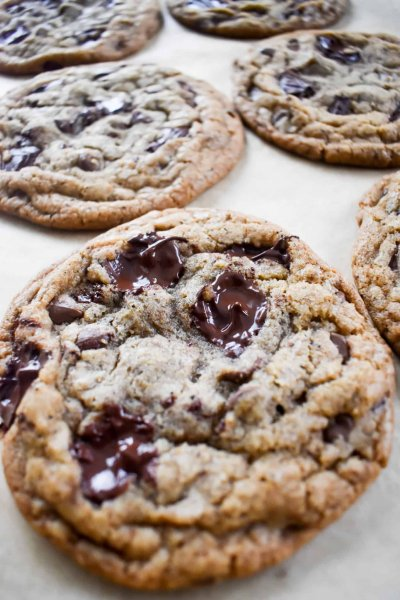 cookie dough of Brown Butter Chocolate Chip chunk Cookies with Dark Brown Sugar
