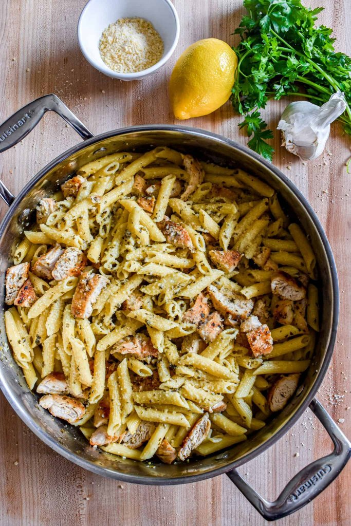 family sized lemon garlic chicken pasta served in the cooking pan