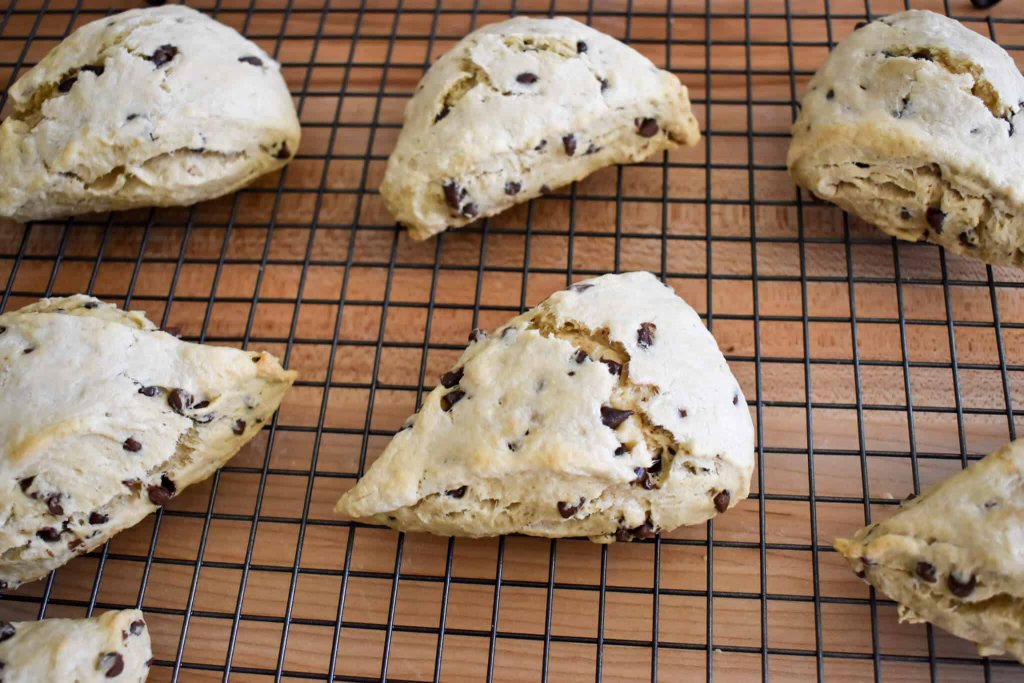 espresso chocolate chip scones on a cooling rack