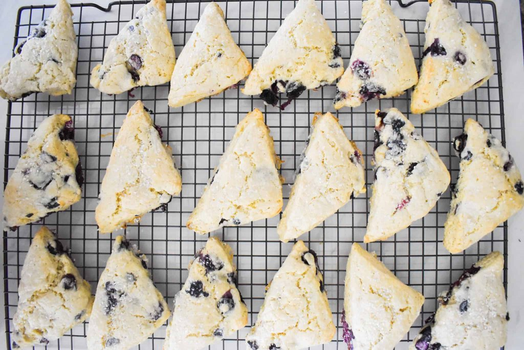 Blueberry scones on a wire rack