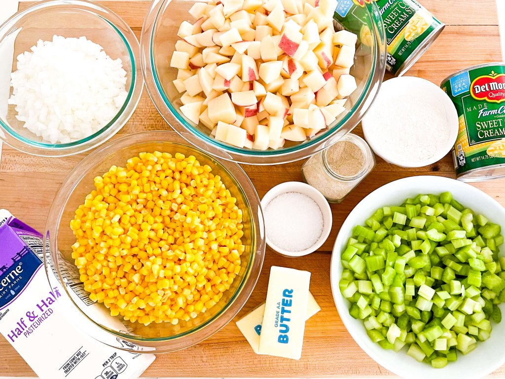 prepped ingredients for corn chowder recipe